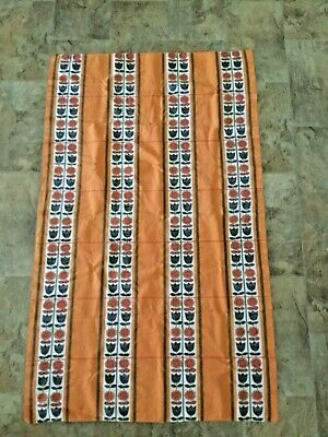 Vintage 1960 Cotton Tablecloth Orange Red Green White 56.5in x 33in Hippy Flower