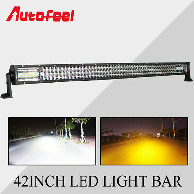 Tri-Row 42Inch LED Work Light Bar Spot Flood Combo Offroad Fog Lamp w/ Wire Kits