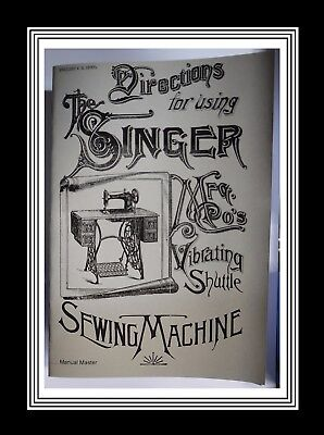SINGER Vibrating Shuttle Model V.S.2 Sewing Machine Manual (36 Page Manual)