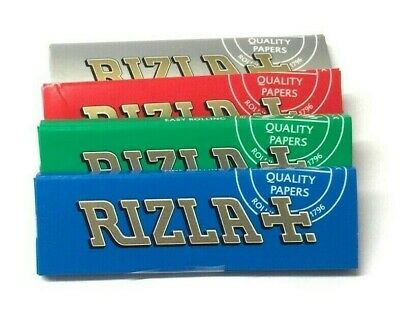 Genuine Rizla Cigarette Rolling Tobacco Papers Blue Green Silver Regular Size