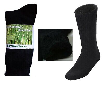 6Prs 90% BAMBOO SOCKS Men's Heavy Duty Premium Thick Work BLACK Bulk New