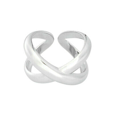 Solid 925 Sterling Silver Chunky Love Knot Heart Double Wire Ring 5.8g Boxed