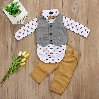 AU Toddler Baby Boy Formal Suit Waistcoat Pants Bow Tie Tuxedo Formal Outfit Set