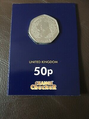 Sherlock Holmes 2019 50p From Uncirculated Bag In Change Checker Plus Card