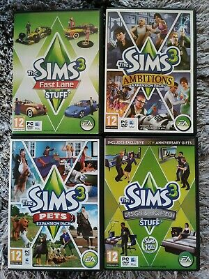 The Sims 3 Pets, Ambitions, Design & High Tech, Fast Lane Expansion Packs PC MAC