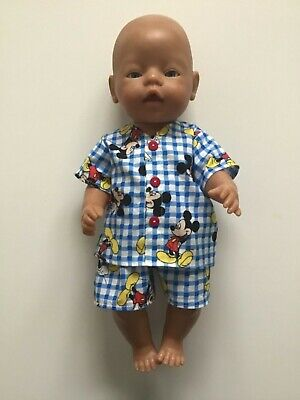 "DOLLS CLOTHES to fit 43cm (17"") BABY BORN *Mickey Mouse ~Summer Pyjamas*"