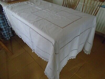 Large Hand Embroidered Irish Linen Tablecloth - Hand Crochet Cotton Lace