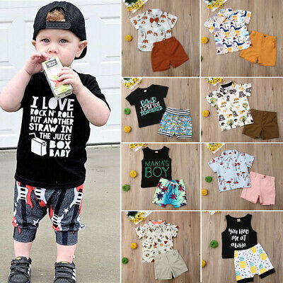 US 2PCS Toddler Kids Baby Boy Animal Print T-shirt Shorts Pants Outfit Clothes