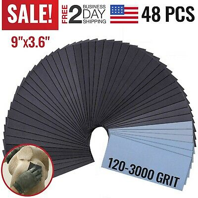 Sandpaper 120 To 3000 Assorted Grit Sanding Sheets Wet Dry Wood Metal Auto 48PC