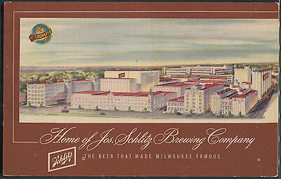 Schlitz Brewing Co Milwaukee 1949 advertising postcard