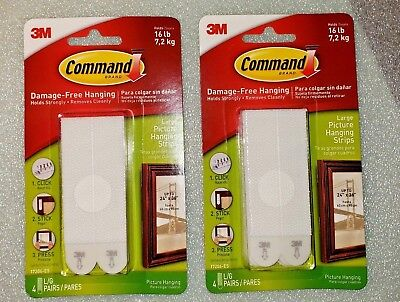 2 packs 3M COMMAND LARGE PICTURE HANGING STRIPS WHITE HOLDS UP TO 16 LBS
