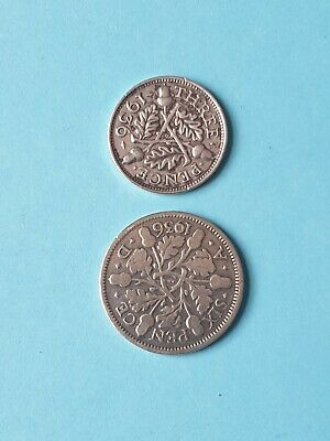 1936 George v Silver Six Pence & Three Pence Coins