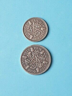 1936 George v Silver Six Pence & Three Pence Coins (ref1)