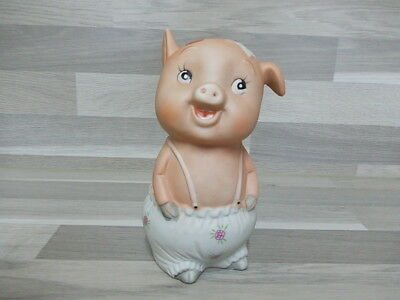 Vintage piggybank Money box porcelain pig with flower trausers