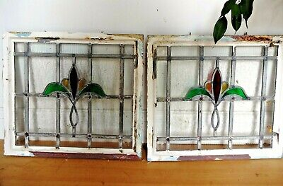 Lovely Vintage Set Of Six Metal Framed Lead Lined Stain Glass Windows Opening