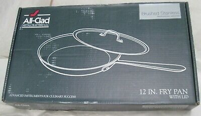 """ALL-CLAD Stainless Steel 12"""" Skillet Non Stick Fry Pan Made In USA w/Box & Lid"""