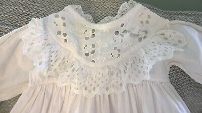 Original Traditional Antique Vintage Cotton Christening Gown for Baby or Doll. b