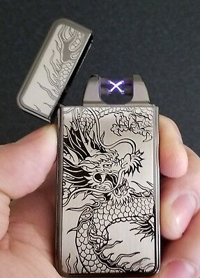 Dual Arc Black Dragon Electric Lighter - Rechargeable, Windproof, Flameless
