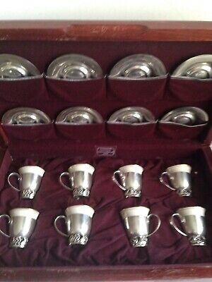 LaPAGLIA Sterling Silver - Set 8 DEMITASSE CUPS & SAUCERS w/LINERS - Fitted Box