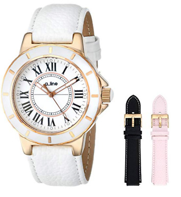 (SET) A Line Women's 20008-SSET Marina White Textured Dial White Leather Watch