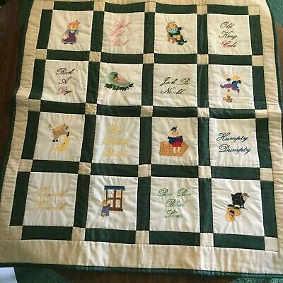 Homemade Baby Quilt, Nursery Rhymes, green, 33 x 36 inch