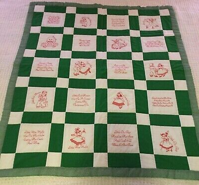 Homemade Baby Quilt, Nursery Rhymes, green, 36 x 44 inch