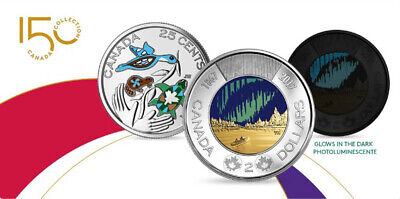 2017 CANADA $2 TOONIE GLOW IN THE DARK &  25 CENT 150th ANN. COLORED COIN