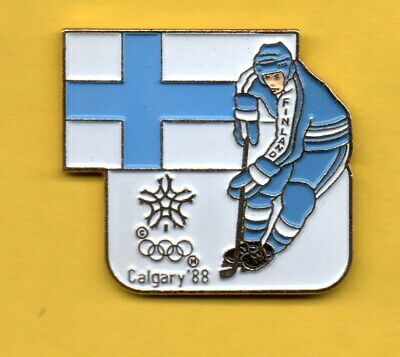 Pin's Pins lapel hat Olympic games jeux olympique CALGARY 88 1988 FINLAND HOCKEY