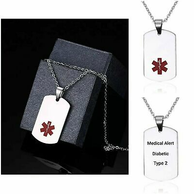 Diabetic Type 1 2 Medical Alert Necklace Stainless Steel Chain Curb Dog Tag