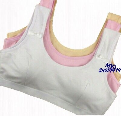 2 pack Girls Crop Top Bra COTTON Back Underwear White Age 10 11 12 13 14 15 yrs