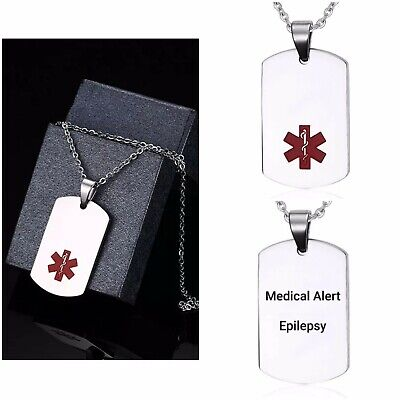 Epilepsy Epileptic Medical Alert Necklace Stainless Steel Chain Curb Dog Tag