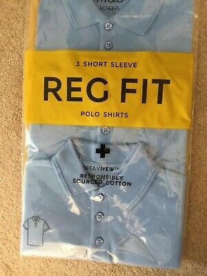 Marks &  Spencer school blue unisex girls polo 3 pack shirts 4-5 years NEW