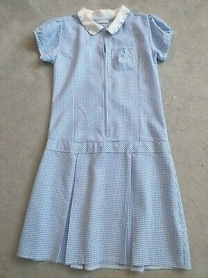 Girl's Blue/white Check School Dress From M&S - Age 10 Years