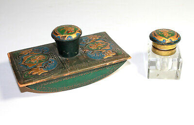 Antique Art Deco INK WELL ROCKING BLOTTER SET Painted Writing Pen Leather