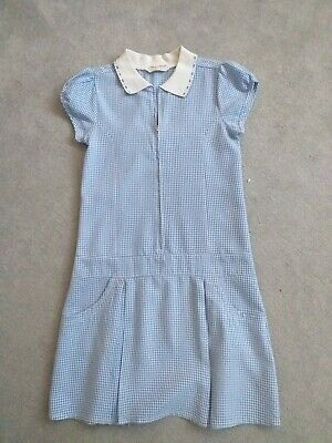 Girl's Blue/white Check School Dress From M&S - Age 12-13 Years