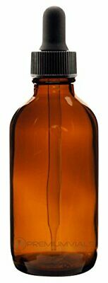 Premium Vials 4OZBRAMCDP0012-12-ZT 4 Oz Amber Boston Round with dropper 12 pack
