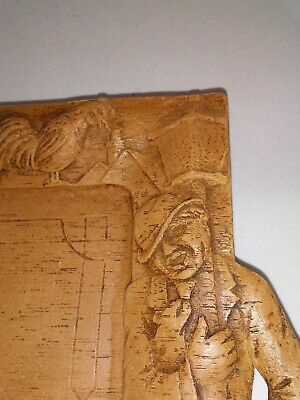 Vtg Hand Carved Wood Drunk Singing Hobos BAR or SERVING Tray Dogs Roosters