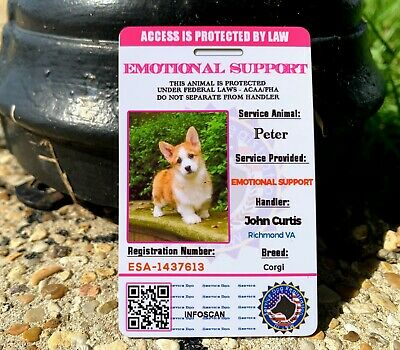 Emotional Support Dog ID Card Service Animal Customized - ADA Rated