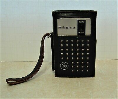 Westinghouse Transistor Radio 9V AM Vintage Black Leather Case Tested & Works