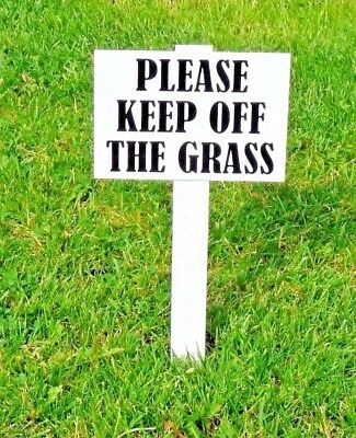 2 x''Please Keep Off The Grass Sign'' DOUBLE SIDED Heavy duty, 10mm thick stake