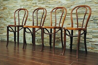 Set of 4 Antique Thonet or Kohn? Bentwood Chairs-Embossed Bentwood Bistro Chairs