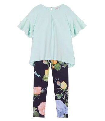 Ted Baker Girl's Navy Floral Print ,Top and Leggings Set Age 9/10 Year