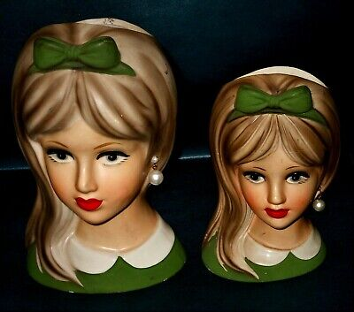 2 NAPCO Vintage Lady  Mod Teen Head Vases, C8494 and C8493 Hair Bows Earrings