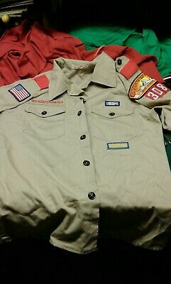 BOY SCOUTS Of America UNIFORM Shirt BSA Scout Patches YOUTH BOYS Sz LARGE