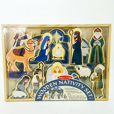 Melissa Doug Wooden Nativity Set Includes Stable And 11