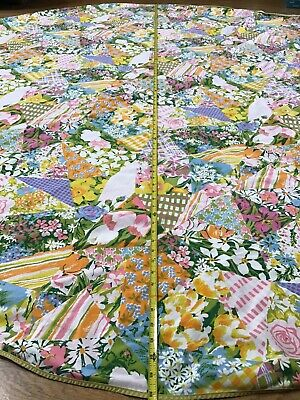 """Spring Flowers Tulips Patchwork Oblong Tablecloth Bright 86"""" Hole On Seam"""