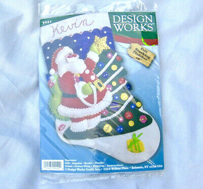 NEW Design Works Christmas Stocking Kit Beads Sequins Santa Tree Personalize It