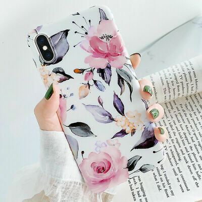 Matte Peony Flower Pattern Rubber Soft Case Cover For iPhone XS Max XR X 8 6s 7+