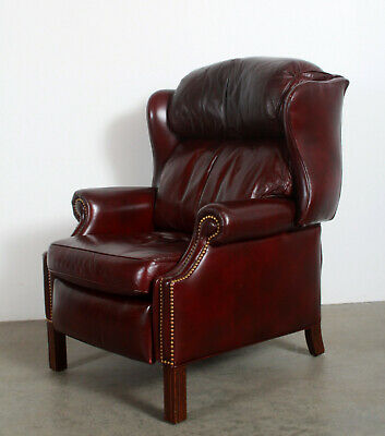 Vintage Hancock & Moore Brown Leather Wing Back Library Recliner Lounge Chair