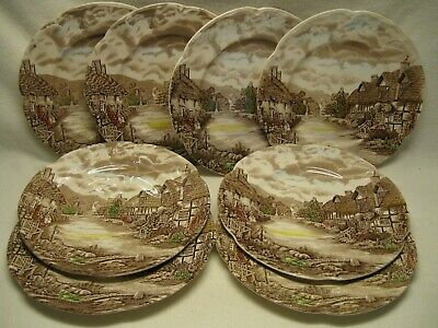 "Johnson Brothers Olde England Countryside Multicolor (8) 10"" Dinner Plates Exc."